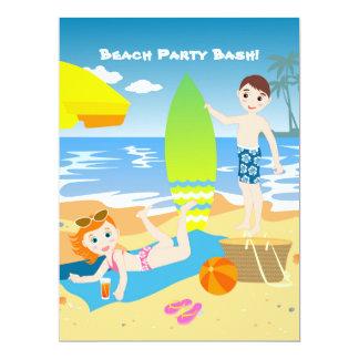 Beach birthday kids party invitation