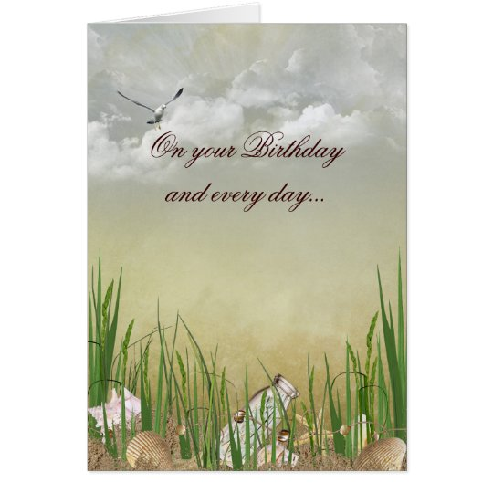 Beach birthday with seagull card