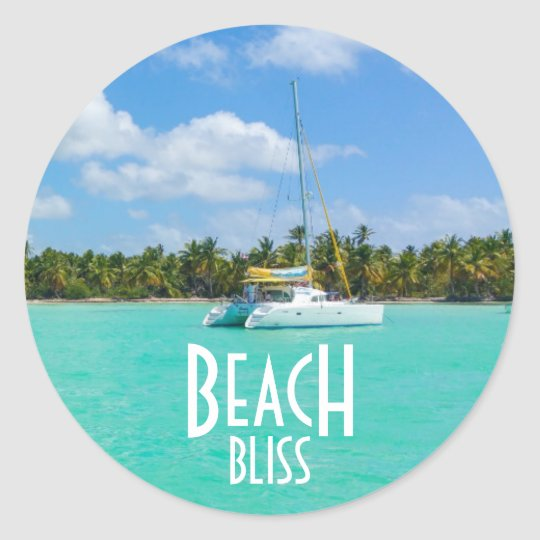 Beach Bliss Getaway Classic Round Sticker