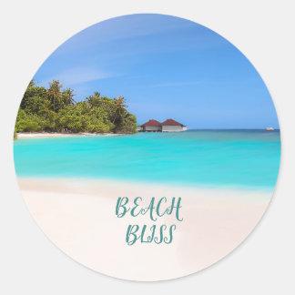 Beach Bliss Tropical Classic Round Sticker