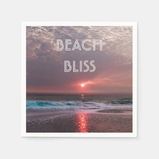 Beach Bliss Tropical Paradise Sunset Editable Disposable Napkins