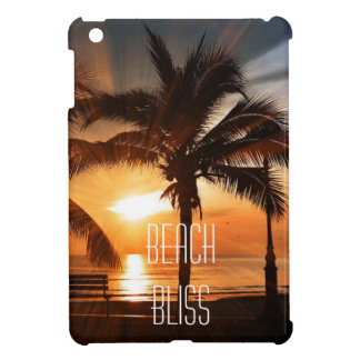 Beach Bliss Tropical Sunset and Palm Tree Editable Cover For The iPad Mini