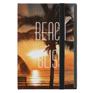 Beach Bliss Tropical Sunset and Palm Tree Editable iPad Mini Cover