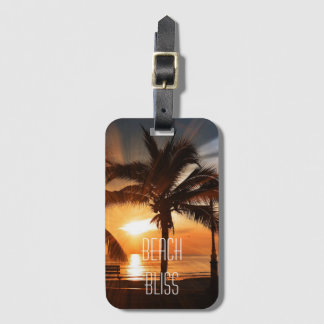 Beach Bliss Tropical Sunset and Palm Tree Editable Luggage Tag
