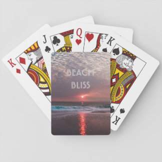 Beach Bliss Tropical Sunset and Palm Tree Editable Playing Cards