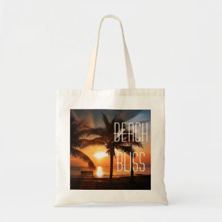 Beach Bliss Tropical Sunset and Palm Tree Editable Tote Bag