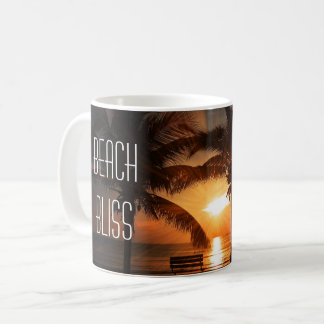 Beach Bliss Tropical Sunset and Palm Trees Coffee Mug