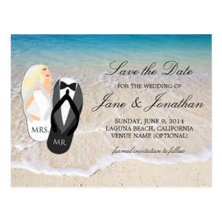 """Beach Blonde """"Mr. and Mrs."""" Wedding Save the Date Postcard"""