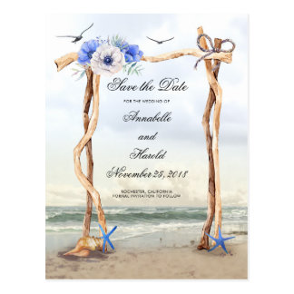 Beach Blue Flowers Save the Date Postcard