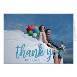 Beach Blue Photo Thank You Card