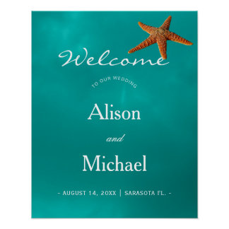 Beach blue turquoise starfish wedding welcome sign
