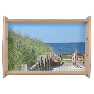 Beach boardwalk photo serving tray