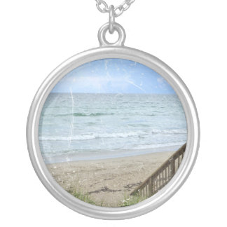 beach boardwalk steps grunge scratch silver plated necklace