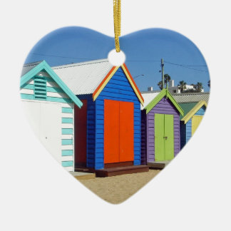 Beach Box Hut Melbourne Australia Ceramic Heart Ornament