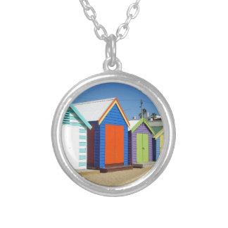 Beach Box Hut Melbourne Australia Silver Plated Necklace