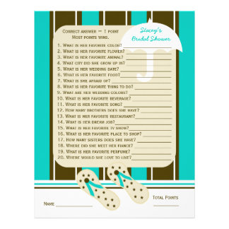 Beach Bridal or Wedding Shower Party Game Letterhead