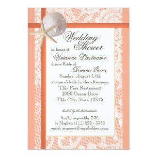 "Beach Bridal Shower Light Coral 5"" X 7"" Invitation Card"