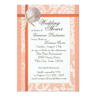 Beach Bridal Shower Light Coral Card