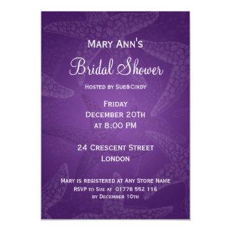 "Beach Bridal Shower Starfish Purple 5"" X 7"" Invitation Card"