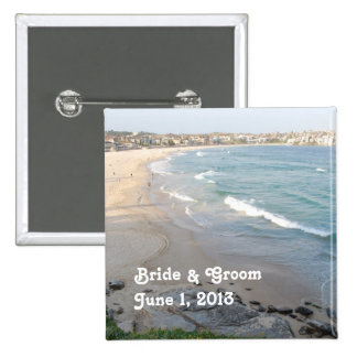 Beach Bride & Groom Button