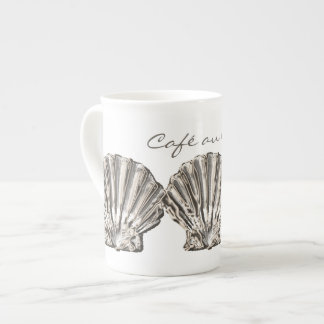 """Beach brown white """"Café au lait"""" shell Tea Cup"""