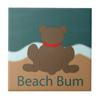 Beach Bum Bear Ceramic Tiles
