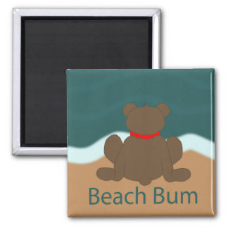 Beach Bum Bear Square Magnet