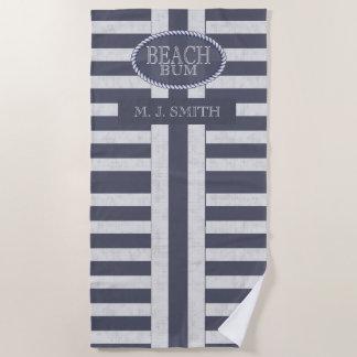 Beach Bum Bold Nautical Stripes and Name Beach Towel