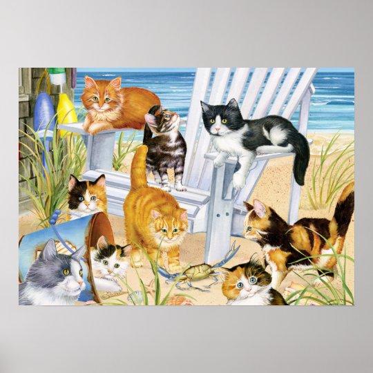 Beach Bum Kittens Poster