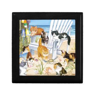 Beach Bum Kittens Wooden Jewelry Keepsake Box