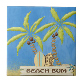 Beach Bum,  Palm Trees and Surfboards Tile