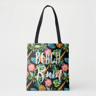 Beach Bum Summer Tropical Palm Pineapple Plumeria Tote Bag