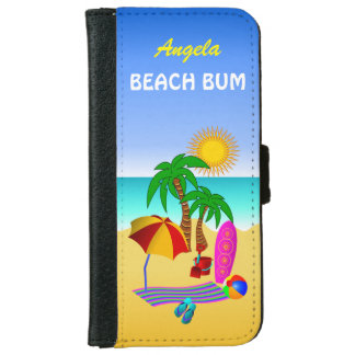 Beach Bum Sun Sea Surf Scene iPhone 6 6S Folio iPhone 6 Wallet Case
