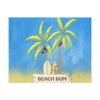 Beach Bum, Surfboards, Palm Trees and Sand Canvas Print