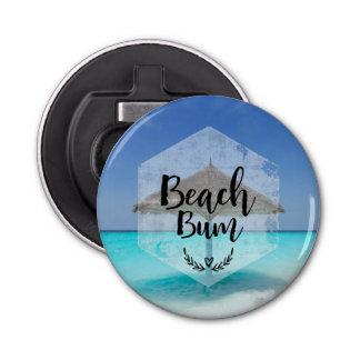 Beach Bum Typography - Umbrella on Tropical Beach Bottle Opener