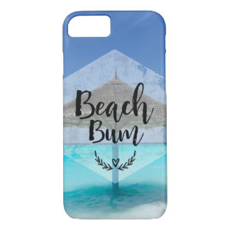 Beach Bum Typography - Umbrella on Tropical Beach Case-Mate iPhone Case