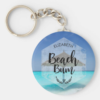 Beach Bum Typography - Umbrella on Tropical Beach Keychain