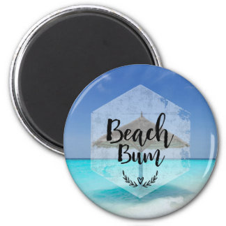 Beach Bum Typography - Umbrella on Tropical Beach Magnet