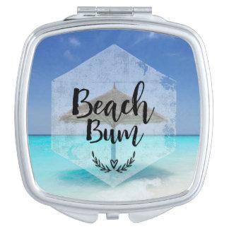 Beach Bum Typography - Umbrella on Tropical Beach Makeup Mirror