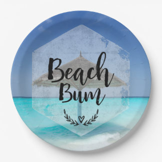 Beach Bum Typography - Umbrella on Tropical Beach Paper Plate