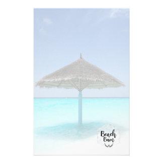 Beach Bum Typography - Umbrella on Tropical Beach Stationery