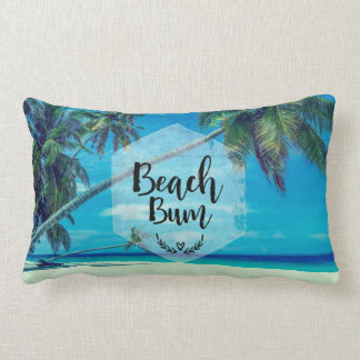 Beach Bum Typography With Tropical Palm Trees Lumbar Pillow