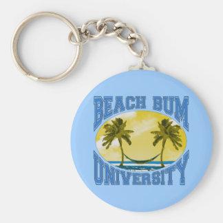 Beach Bum University Basic Round Button Keychain