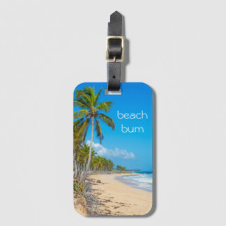 Beach bum vacation bag tag