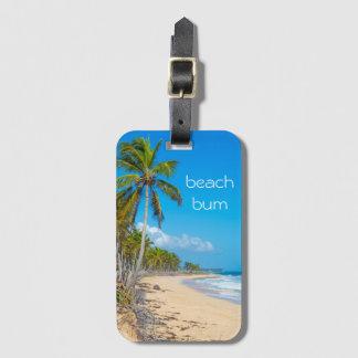 Beach bum vacation luggage tag