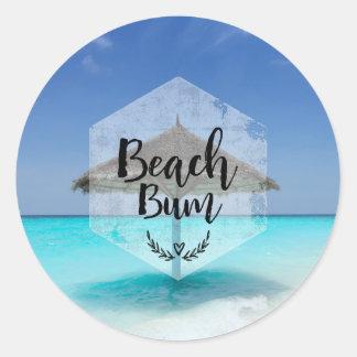 Beach Bum with Thatched Beach Umbrella Classic Round Sticker