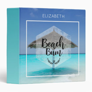 Beach Bum with Thatched Beach Umbrella Custom 3 Ring Binders