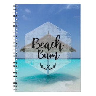 Beach Bum with Thatched Beach Umbrella Spiral Notebook