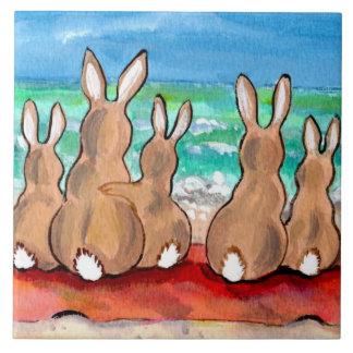 """Beach Bunnies Family on Blanket 6"""" Tile Trivet"""