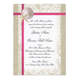 Beach Burlap and Lace Fuchsia Wedding Card